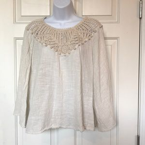 Zara linen and crocheted top size L